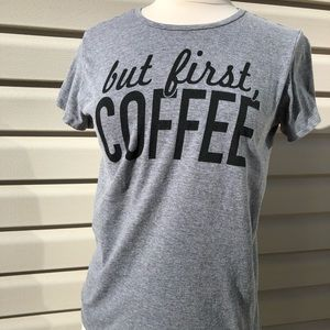 But first coffee gray graphic Tee